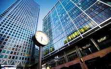 Time passes at Canary Wharf, at the heart of London's financial hub