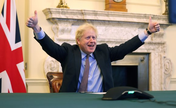 Boris Johnson marked the trade agreement by publishing the above photo to the Number 10 Twitter account | Credit: Downing Street