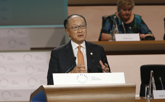 Jim Yong Kim made the announcement at President Macron's One Planet Summit in December | Credit: France Diplomatie
