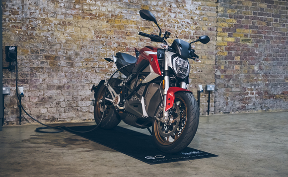 Zero SR/F electric motorcycle plugged into the EO Mini charger / Credit: EO Charging