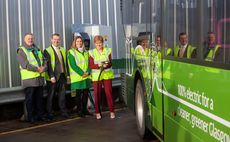 Scotland's First Minister Nicola Sturgeon (R) visited the First Glasgow bus depot on Friday | Credit: First Glasgow