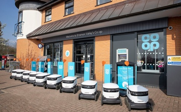 Zero-emission robot delivery vehicles at Co-op's Emerson Valley branch | Credit: Co-op