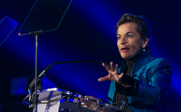 Christiana Figueres speaking at the 2017 BusinessGreen Leaders Awards