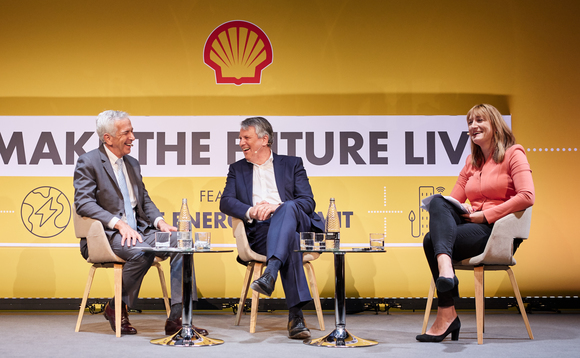 Shell CEO Ben van Beurden (centre) in conversation with Fred Krup of the Environmental Defense Fund and ITN's Allegra Stratton / Credit: Shell