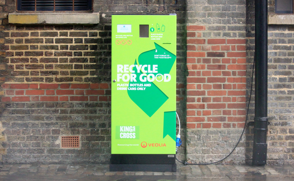 The reverse vending machine at King's Cross accepts plastic bottles and aluminium cans | Credit: Veolia / Leon