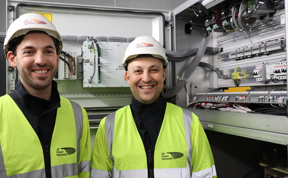 Jack McKellar (L) and John Moutafdis (R) with the new circuit breaker device | Credit: UKPN