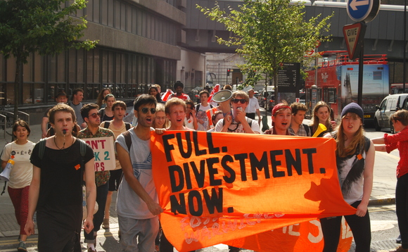 Students call for fossil fuel divestment at a London protest last year
