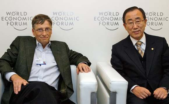 Bill Gates and former UN secretary general Ban Ki-moon (right) are among the leaders of the new Global Commission on Adaptation. CREDIT: Evan Schneider/UN Photo