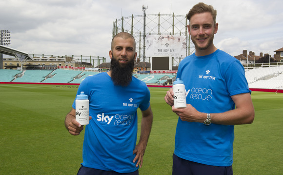 Sky Ocean Rescue teams up with Moeen Ali and Stuart Broad to help knock plastic out the stadium as the Kia Oval take steps to becoming a plastic free venue