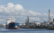 A ship leaves the dock at Stanlow oil refinery | Credit: korhil65