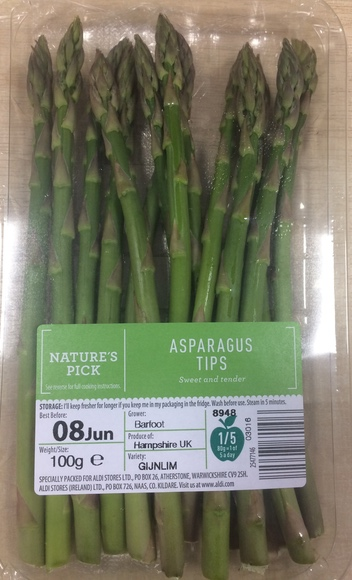 Aldi's asparagus tips is one product range to switch to clear plastic | Credit: Aldi
