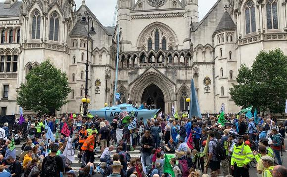An Extinction Rebellion protest outside the Royal Courts of Justice in London earlier this year | Credit: Extinction Rebellion
