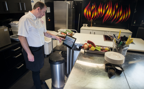 Smart scales such as Winnow's (pictured) help catering firms track their waste | Credit: Chris King Photography