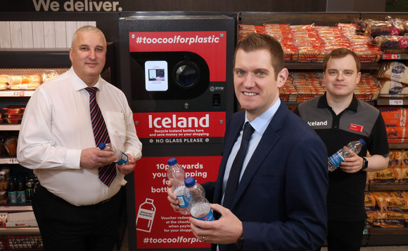 Iceland's Park Centre store staff with the new reverse vending machine | Credit: Iceland