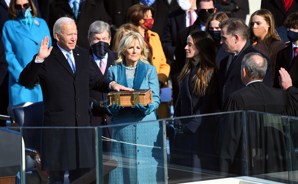Joe Biden being sworn in as US President in Washington today | Credit: USA TODAY Network/SIPA USA/PA Images