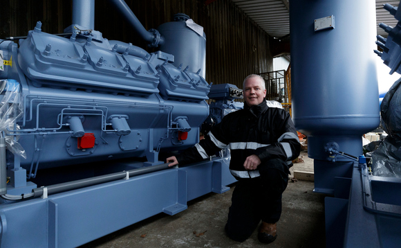 Mackie's services manager Kevin Jepson with the new green freezer unit | Credit: Mackie's