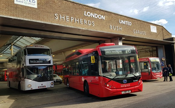 One of the first new electric buses to leave Shepherd's Bush garage / Credit: RATP Dev