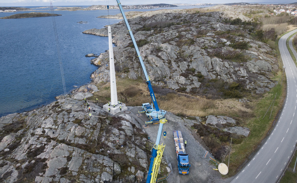 The 30-metre tower was build for research outfit the Swedish Wind Technology Centre. Credit: Modvion