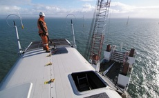 Workers often reach offshore wind farms by polluting ships