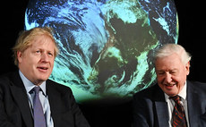 Boris Johnson with Sir David Attenborough to mark World Environment Day today | Credit: Number 10
