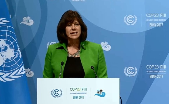 Claire Perry addressing the COP23 summit earlier | Credit: UN