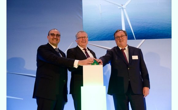 The partners pressed the green button to mark the opening of Dudgeon wind farm - Mohamed Jameel Al Ramahi (CEO of Masdar)(left)