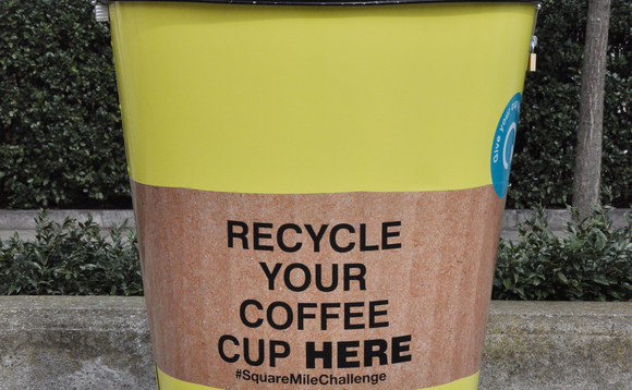 One of the coffee cup recycling bins being used for the initiative