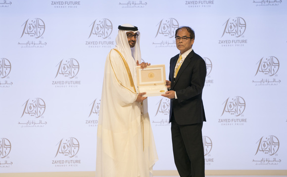 Prof Shuji Nakamura receiving the Zayed Future Energy Prize Lifetime Achievement Award last month from the Crown Prince of Abu Dhabi