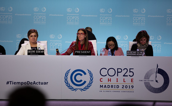 COP25 President Carolina Schmidt (centre) oversaw the final hours of proceedings at the summit | Credit: UN Climate Change