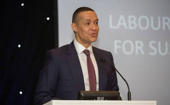Clive Lewis speaking at the BusinessGreen Technology Awards in 2018
