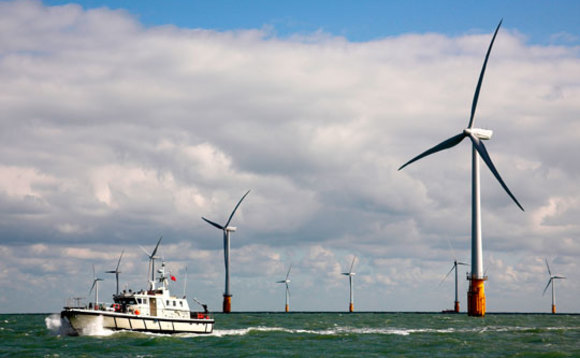 Thanet offshore wind farm off the coast of Kent