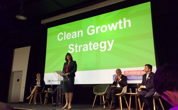 Climate change minister Claire Perry launching the new Clean Growth Strategy in London