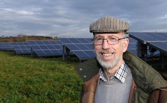 John Stott, Chair of the Heart of England Community Energy solar farm. Image courtesy of Triodos Banks