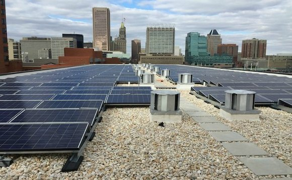 Sol's 196-kilowatt solar installation at Christ Church apartments, a low-to-moderate income senior living facility located on the Baltimore Harbor. Credit: Sol Systems