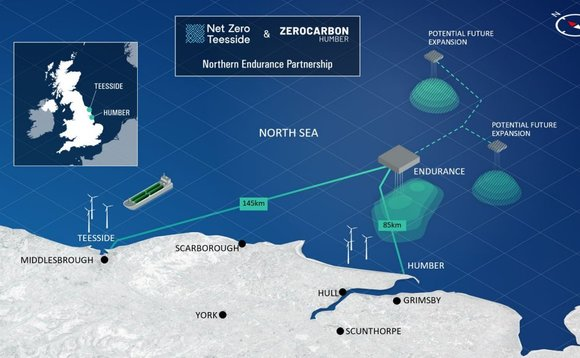 CO2 captured in Teesside and the Humber would be shuttled and stored under the North Sea | Credit: Endurance Partnership