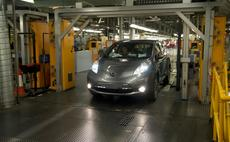 Nissan Leaf electric vehicle coming off the production line