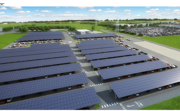 A CGI image of what the finished solar carport will look like | Credit: Bentley
