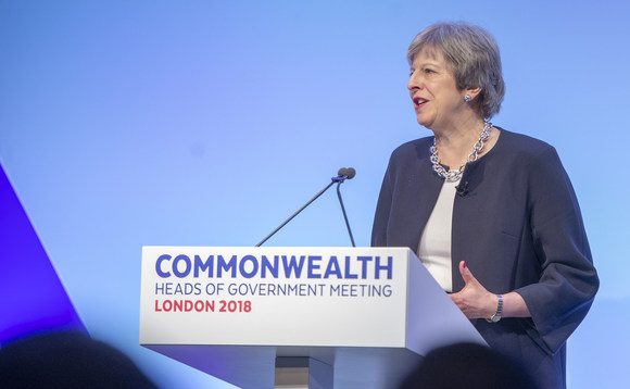 Prime Minister Theresa May addresses the Commonwealth Heads of Government meeting this week in London | Credit: Number 10