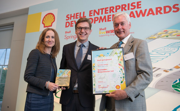 (L-R) Shell's UK chair Sinead Lynch with Charlie Paton and Karl Fletcher of Springboard winner Seawater Greenhouse | Credit: Shell