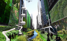 Terreform ONE's fanciful vision of 42nd Street in New York city, with riparian corridors teeming with aqueous life, lighting systems with vertical-axis wind turbines and photovoltaic cells, and lots of green walls. Credit: Terreform ONE.