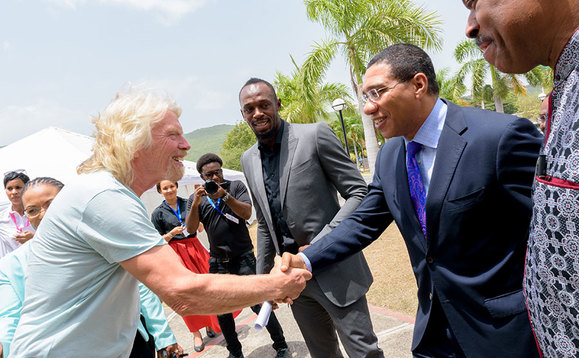 Sir Richard Branson with Jamaica PM Andrew Holness and Usain Bolt last week | Credit: Caribbean Climate-Smart Accelerator