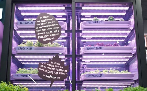 The vertical farming units use sunlight-mimicking LED lighting to grow herbs indoors | Credit: Infarm