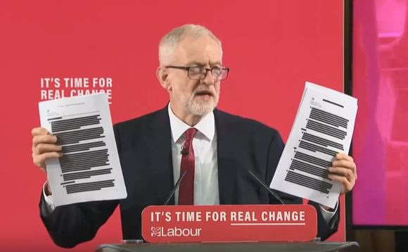Corbyn unveiling the leaked documents today