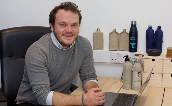 Choose managing director James Longcroft with his firm's paper bottles | Credit: Choose