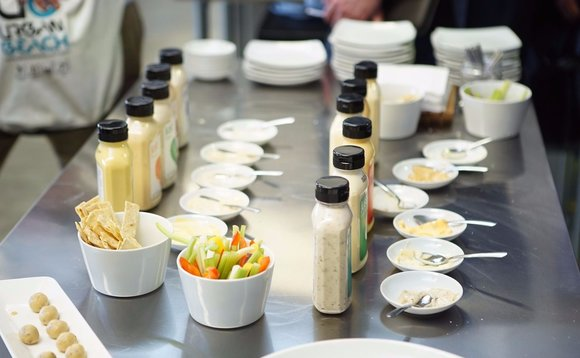A spread of eggless mayonnaise and vegan salad dressings at Hampton Creek