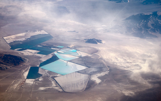 Aerial view of the Rockwood Lithium mine in Silver Peak Nevada