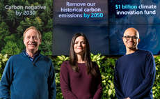 Microsoft President Brad Smith, Chief Financial Officer Amy Hood and CEO Satya Nadella preparing to announce Microsoft's plan to be carbon negative by 2030 / Credit: Brian Smale/Microsoft