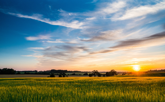 Sunset over arable farmland in Suffolk | Credit: iStock