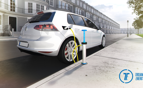 A CGI impression of the new Trojan Energy charge point, allowing discreet curbside charging | Credit: Trojan Energy