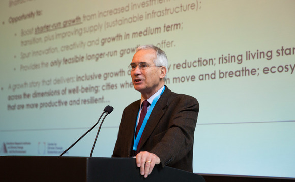 Lord Stern speaking at the TCFD conference | Credit: Bloomberg